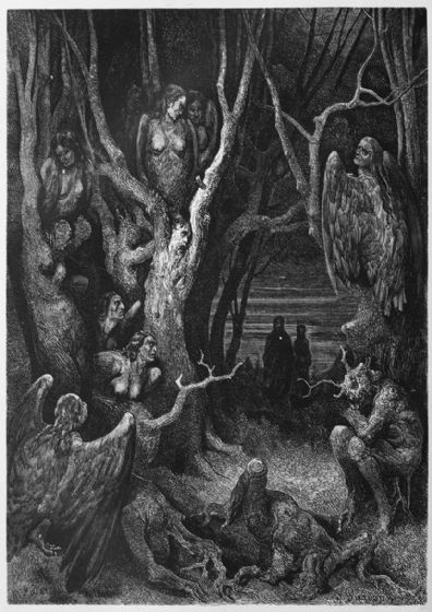 Dore, Gustave: The Brute Harpies (Illustration from Dante's Inferno). Fine Art Print/Poster. Sizes: A4/A3/A2/A1 (003970)
